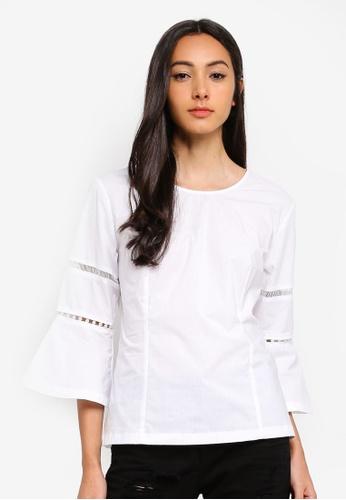 Sisley white Bell Sleeves Blouse F0C6FAA90870BEGS_1