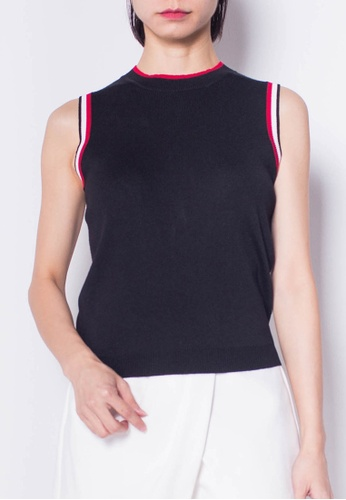 SUB black Women  Sleeveless Knit Top 39822AAE4DF122GS_1