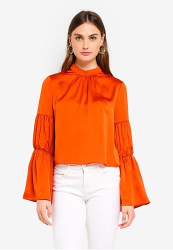 Glamorous orange Long Sleeved Ruffle Top 15082AA774F290GS_1
