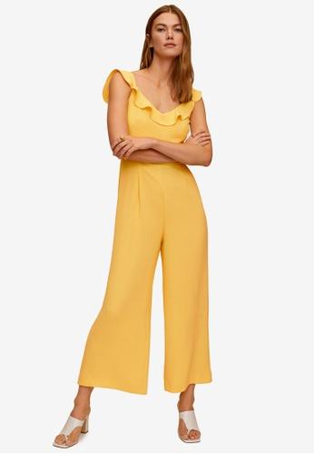Mango yellow Frilled Long Jumpsuit 8E265AAE8CF9CDGS_1