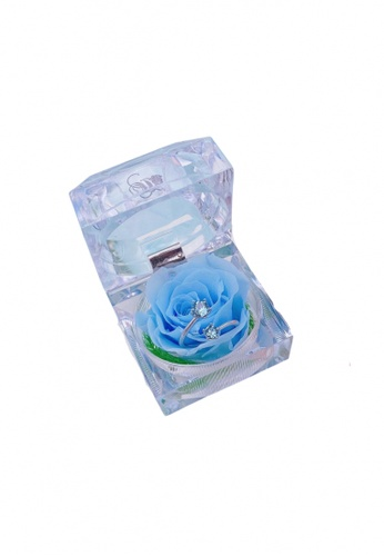 Her Jewellery Her Rose - Everlasting Preserved Rose - Rose in Ring Box with Adjustable Ring by Her Jewellery (March, Aquamarine) 7347CAC2B1CE34GS_1