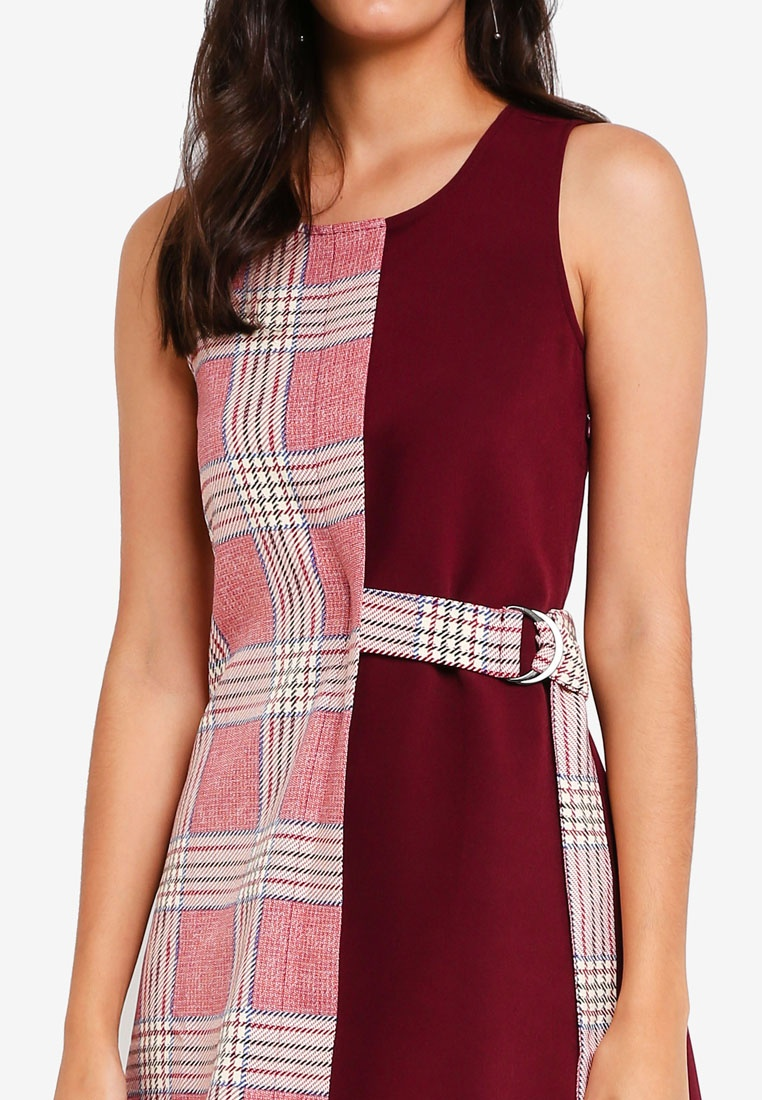Maroon Belted Belted Loop ZALORA Dress Loop Dress ZALORA wwnOqx0v