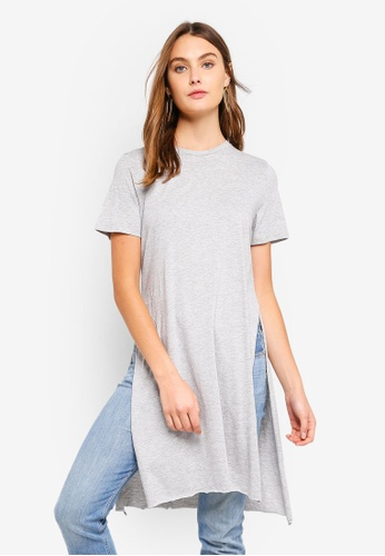 Brave Soul grey Knot Front Long Line Tee 8776BAAAB0A397GS_1