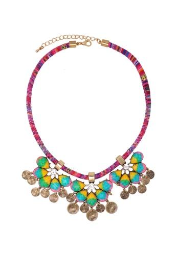 Jaysa Collection multi Designer Fabric Cord Necklace with Rainbow Resin Pendants JA875AC13CGOSG_1