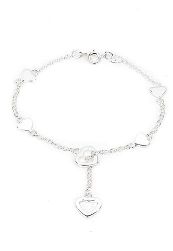 Silverworks silver 4 Plain Open Heart with Drop Open Heart Bracelet SI696AC39HGYPH_1