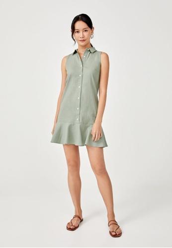 Love, Bonito green Pollette Drop Hem Sleeveless Shirt Dress BA16EAA4160C17GS_1