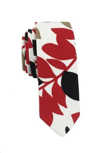 Splice Cufflinks Potpurri Series Plant Design Red White & Black Cotton Tie SP744AC42KYVSG_1