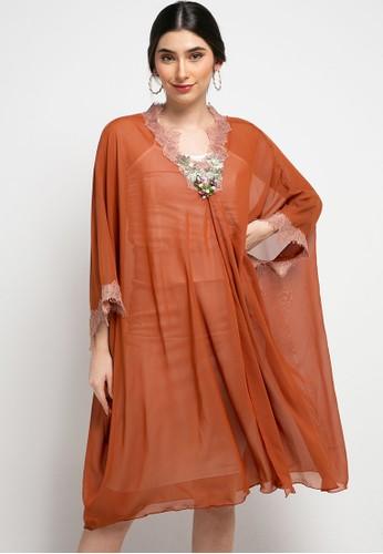 Luire by Raden Sirait orange Fm Dress V Cetar Midi Cx 7C2EDAA2E3E130GS_1