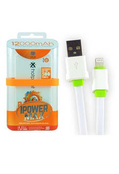 UPlus 12000mAh Powerbank with USB Data Cable LS01 for iPhone 5/5s/6/6+