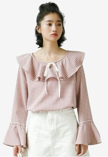 Shopsfashion pink Checked Ruffle Blouse 7A315AAB0CF7A8GS_1
