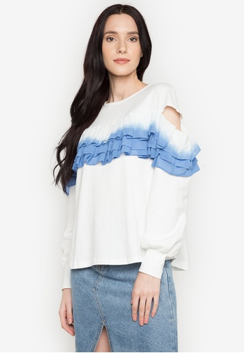 Chloe Edit white Frilled Tie Dye Cold Shoulder Top CH672AA0JS4WPH_1