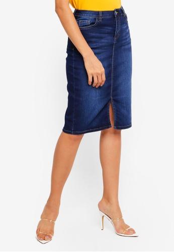 006031e5da Buy Dorothy Perkins Indigo Denim Midi Skirt Online | ZALORA Malaysia