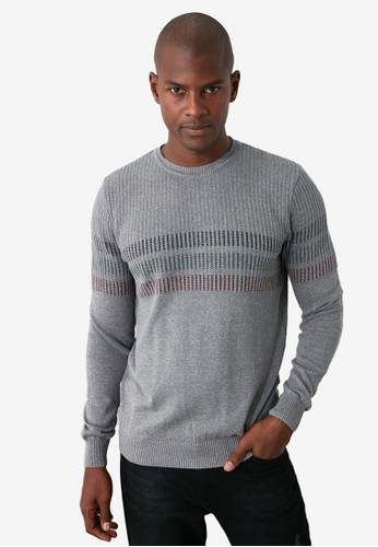 Trendyol grey Stripe Panel Crew Neck Slim Fit Sweater F1BE1AA6AFD575GS_1