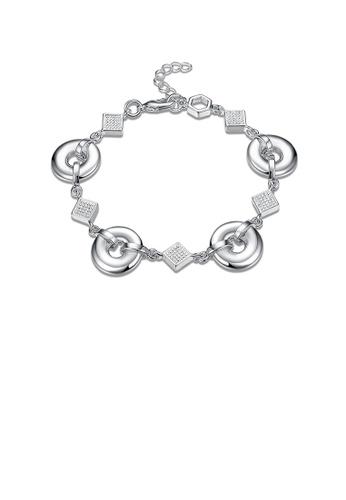 Glamorousky silver Fashion Simple Geometric Circle Square Bracelet BA3FFAC26A8768GS_1