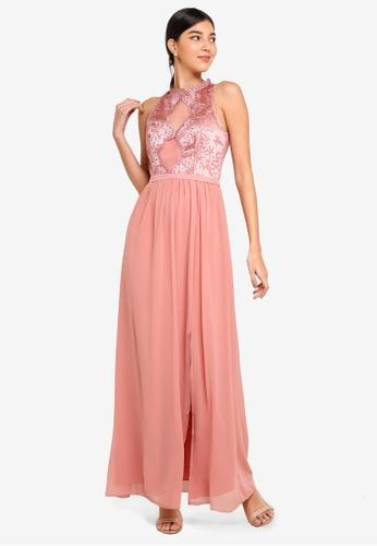 Little Mistress pink Apricot Lace Maxi Dress CD5EAAA955B694GS_1