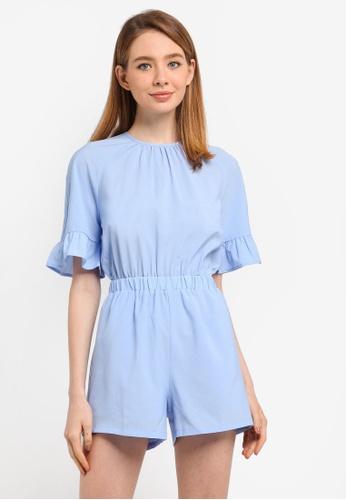 ZALORA blue Raglan Sleeve Playsuit With Ruffle 00D01AA43175EEGS_1