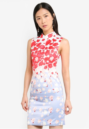 Megane purple and multi Red Romance Hilaire Printed Cheongsam A58D8AAD4D11C3GS_1