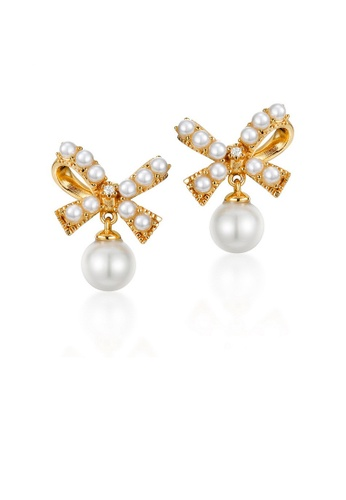 SUNSET gold Premium 925 Sliver Pearl Earring FE1DCAC29357D8GS_1