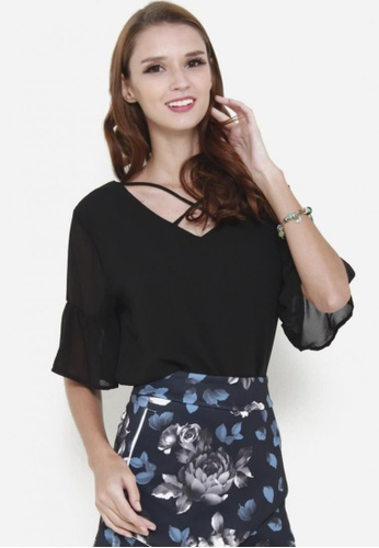 Sophialuv black Cross My Heart Chiffon Top in Black 0BD21AA1491AC1GS_1