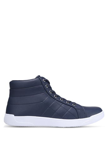 ZALORA navy Faux Leather Quilted High Top Sneakers 5138DSH4159068GS_1