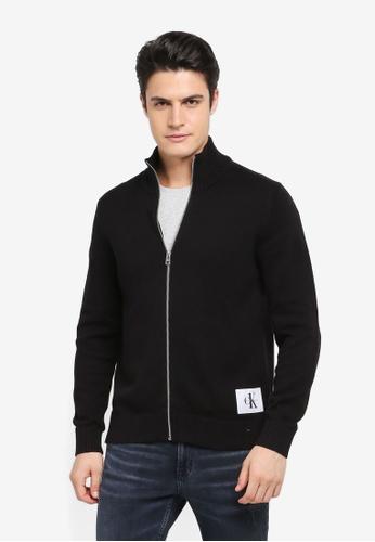 Calvin Klein black Senet Regular Zip Long Sleeve Sweatshirt - Calvin Klein Jeans 5BDC6AA334F94DGS_1