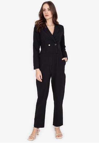 ZALORA WORK black Long Sleeves Lapel Jumpsuit F4B5AAAB8C45A7GS_1