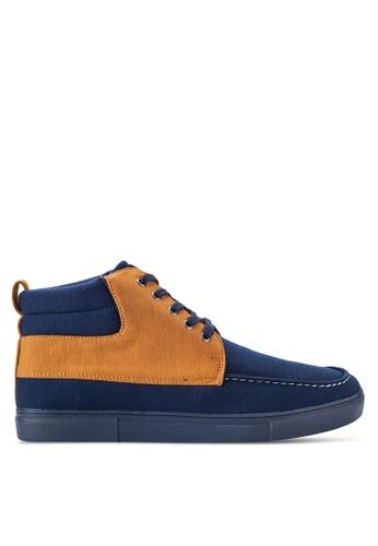 JAXON navy Mixed Material High Top Sneakers 64A75SH84A0E91GS_1