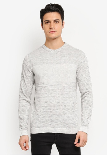 Jack & Jones grey Texas Knitted Crew Neck Sweatshirt JA987AA0T0FVMY_1