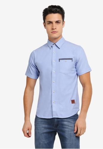 Volkswagen 藍色 Volkswagen Cotton Short Sleeve Woven Shirt VO089AA0SKGPMY_1