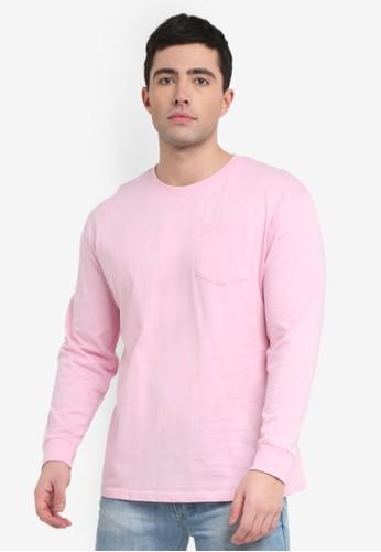 Factorie pink Long Sleeve Pocket T-Shirt 578BBAA7D9D3FFGS_1