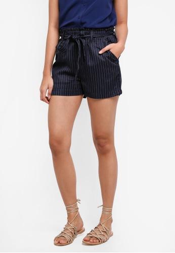 Penshoppe navy Striped Fashion Shorts With Self-Fabric Belt 49FC4AAC0E4235GS_1
