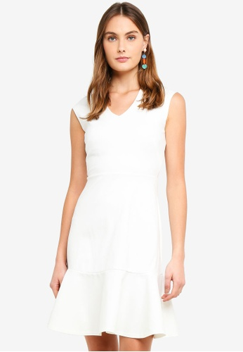 CLOSET white V-Neck Peplum Dress 05BB1AA6621AA7GS_1