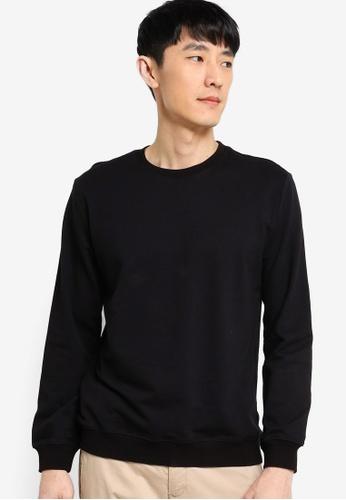 ZALORA BASICS black Terry Basic Sweatshirt 7B713AA931CA03GS_1