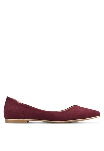 ZALORA red Pointed Ballerinas with Metal Trimmings ABWHBSH0000068GS_1