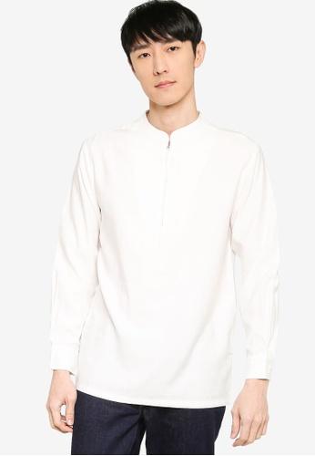 ZALORA BASICS white Half Zip Stand Collar Shirt 8DEC8AA3509AE1GS_1