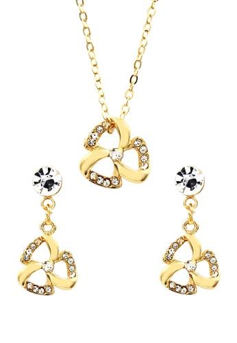 Venice Jewelry gold Venice Tri Petals Necklace and Earrings Set VE564AC0IJ9LPH_1