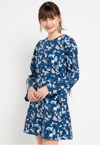 Bateeq blue Long Sleeve Cotton Print Dress 1BE31AA7F1E9F9GS_1