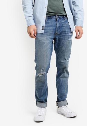 Abercrombie & Fitch 藍色 刷破窄管牛仔褲 AB423AA94IQJMY_1