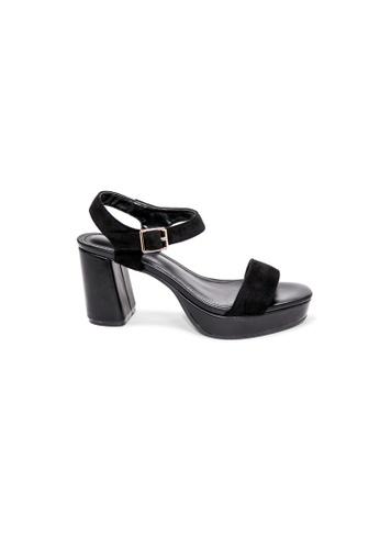 prettyFIT black Black Velvet Platform Heeled Sandals 9A39BSHF5651E7GS_1