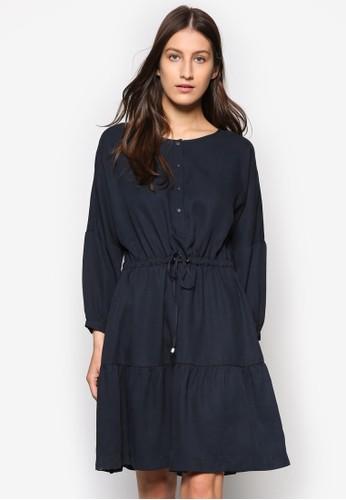 繫帶esprit台灣官網鈕扣長袖洋裝, 服飾, 服飾
