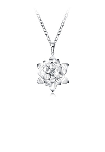 Glamorousky silver Elegant and Beautiful Lotus Pendant with Necklace 918F6AC171936CGS_1