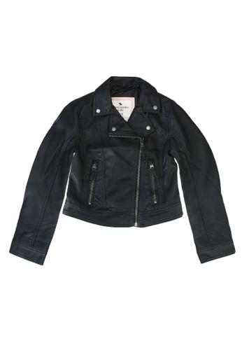 Abercrombie & Fitch black Faux Leather Jacket 59065KAE3F92A5GS_1