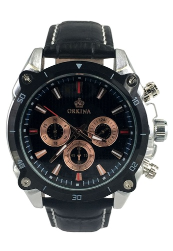 Chronomart black and silver Orkina Men's Chronograph Dial Japan Quartz Leather Strap Wrist Watch CH783AC20GMHPH_1