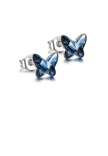 Glamorousky blue 925 Sterling Silver Fashion Temperament Butterfly Stud Earrings with Blue Cubic Zirconia F2B9FAC79802D6GS_1
