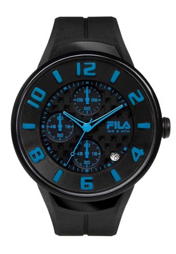FILA Watches blue Fila Black and Blue Rubber Watch AB6D3AC207AAACGS_1