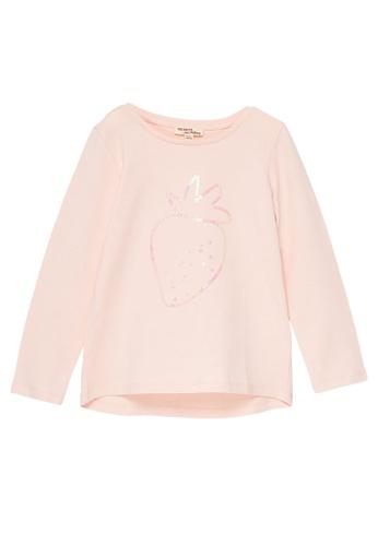 Du Pareil Au Même (DPAM) pink Sequin Long Sleeve T-shirt 42BACKA1653BA5GS_1