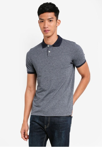 Selected Homme blue Lau Slub Ss Polo 3973FAAC4BF526GS_1