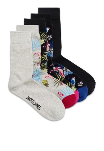 JACK & JONES black Flower Bird Socks 5 Pack 84D4AAA8D22C52GS_1