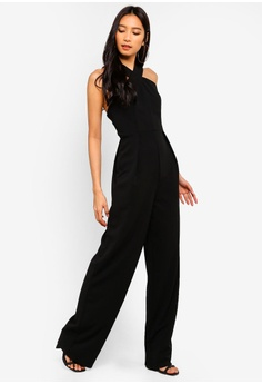 d3e25abe4a5 NA-KD black Wide Leg Cross Neck Jumpsuit 37D32AA217070EGS 1