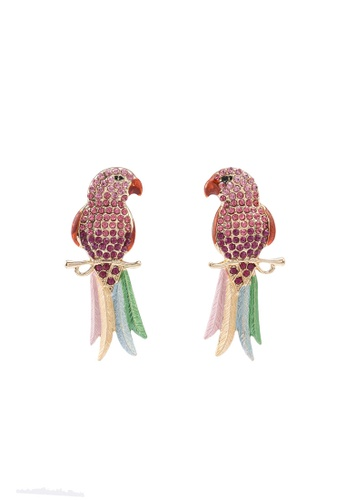 Red's Revenge green Paradise Parrot Statement Earrings D9422AC9B39AEEGS_1